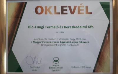 Klubtársunk, a Bio-Fungi Kft. a Magyar Élelmiszerbank Egyesület arany fokozatú támogatója!